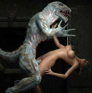 dinosaur fucks a 3d elf babe